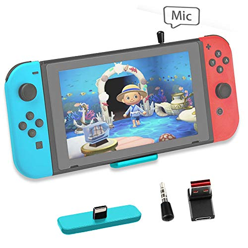 Bluetooth Adapter for Nintendo Switch Accessories USB-C Connector Wireless Audio Transmitter with aptX LL, Support in-Game Voice Chat,Connect AirPods Headphones - Turquoise