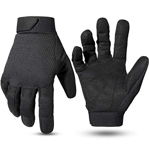 WPTCAL Military Full Finger Non-Slip Wear-Resistant Tactical Gloves Mechanic Work Gloves for Hunting Hiking Riding Camping Fishing Sports - Black (S)