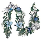 Valery Madelyn Pre-Lit 6 Feet Winter Land Blue Silver Christmas Garland with Ball Ornaments, Snowflakes, Pine Cones, Ribbons and Flowers, Battery Operated 20 LED Lights