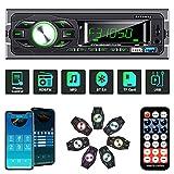 ANKEWAY RDS Radio Coche Bluetooth 5.0 con Asistente de Voz y Control de App, MP3/RDS/FM Radio de Coche con Llamadas Manos Libres y Control Remoto, Soporta USB/Tarjeta TF/AUX/USB 3.0 de Carga Rápida