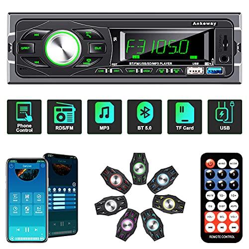 ANKEWAY RDS Radio Coche 1 DIN Bluetooth 5.0 con Asistente de Voz y Control de App, MP3/RDS/FM Radio Coche con Llamadas Manos Libres y Control Remoto, Soporta USB/Tarjeta TF/AUX/USB 3.0 de Carga Rápida