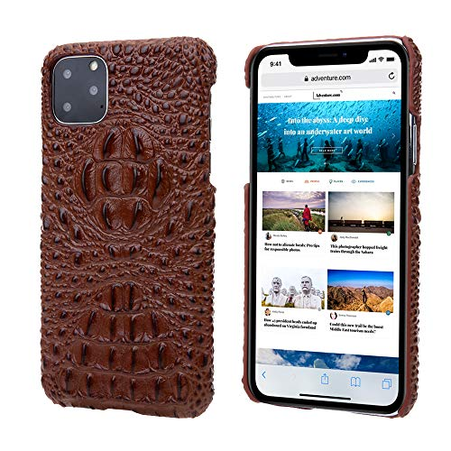 KMXDD iPhone 11 Pro Max 6.5 inch Genuine Leather Hard Back Case Alligator Skin Texture Handmade Ultra Slim Lightweight Back Cover for iPhone 11 Pro Max (2019) 6.5 Inch (Brown, iPhone11ProMax 6.5inch)
