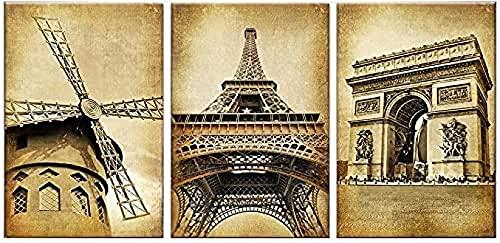 MXXC Canvas Muur Art Parijs Eiffeltoren Panel Klassieke Poster Prints Landmark Gebouw Woonkamer Fotos3 Stuk 23.6x31.5in (60x80cm) geen Frame