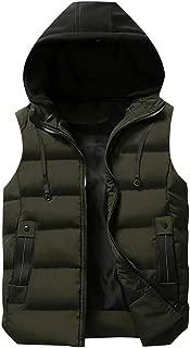 GREFER-Mens Hooded Jacket Mens Winter Warm Sleeveless Coat Regular Fit Zipper Thick Outwear Vests Plus Size