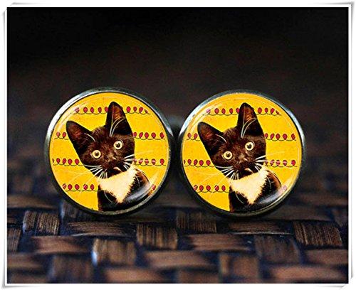 Gemelos de gato negro, gemelos de gato, regalos para amantes de gatos, gemelos divertidos