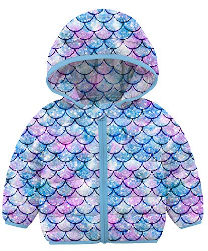 BFUSTYLE Mermaid Winter Coats for Kids with Hoods Light Puffer Jacket for Baby Boys Girls Infants Toddlers Down Alternative Clothes (Colorful Fish Scale Blue Purple Lavender Violet, 2-3T)