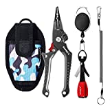 SAMSFX Aluminum Fishing Pliers Saltwater Hook Remover Vanadium Cutter Split Ring Opener with Coiled Lanyard and Sheath, Fishing Knot Tying Tool and Retractors Fishing Gear Accessories