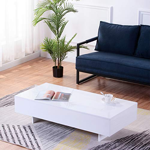 GOLDFAN Modern Rectangle Coffee Table High Gloss Coffee Table for Living Room Home Office Furniture, White