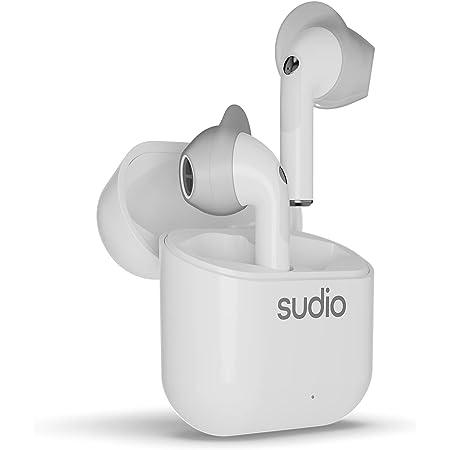 【Bluetooth 5.0】[国内正規代理店販売品 安心の Sudio/NIO 《ニオ》ホワイト デュアルマイク内蔵 ⾼⾳質完全ワイヤレスイヤホン 着脱可能なウィングチップによる装着の安定性、防⽔性能IPX4、5.5時間合計20時間連続再生