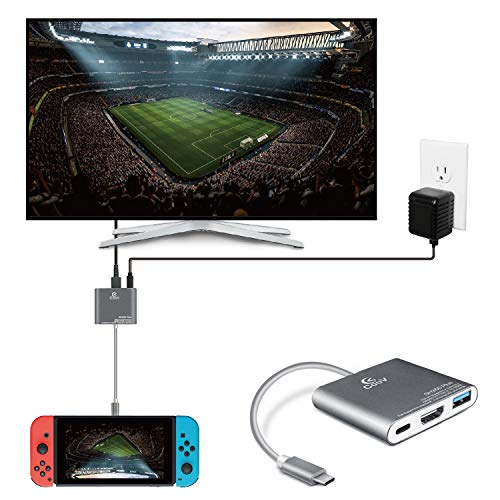 TNP HDMI to USB-C Hub Adapter for Nintendo Switch - Portable Dongle USB Type C Charging Dock Connector Hub with 4K@30Hz HDMI Output Port, Video Audio AV Converter Cable Wire Cord Plug Compatible