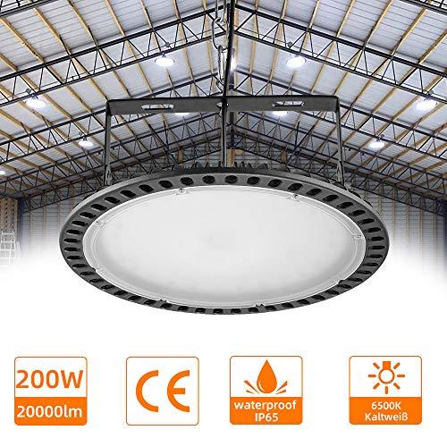 200W Led UFO Industrielampe kaltweiß, LED Hallenstrahler Industriestrahler, Industrieleuchte, Shinning-Star Strahler für Werkstätten und Fabrikhallen usw, 22000LM, 6000-6500K …