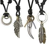CASSIECA 3-4 PCS Collar de Cuero para Hombres Vintage ala de Angel Collar Colgante Pluma Collar Ajustable