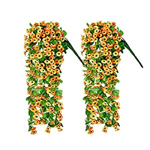 2pcs Artificial Hanging Flowers, 33.5 inch Vine Ratta Hanging Garland Hanging Plants Fake Silk Flowers for Indoor, Outdoor, Courtyard, Wall,Fence, Hanging Basket Decorated (yellow chrysanthemum)