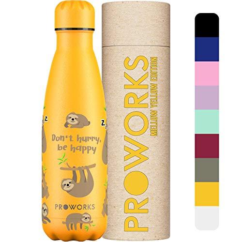 Proworks Botellas de Agua Deportiva de Acero Inoxidable | Cantimplora Termo con Doble Aislamiento para 12 Horas de Bebida Caliente y 24 Horas de Bebida Fría - Libre de BPA - 1L - Amarillo - Perezoso