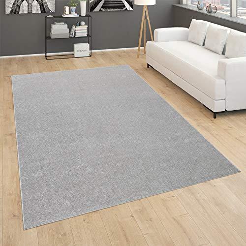 Alfombra Salón Lisa Pelo Corto Sencilla Moderna Color Plata, tamaño:160x220 cm