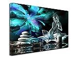 DECLINA Tableau Moderne Zen - Impression sur Toile décoration Murale Zen - Déco Maison, Cuisine, Salon, Chambre Adulte - Turquoise 80x50 cm