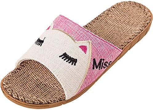 [Mishansha] スリッパ キッズ 猫 ルームシューズ 軽量 麻 静音 滑り止め 子供 室内履き 男の子 女の子