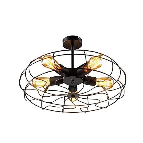 Retro Design plafondlamp, industriële stijl, vintage, vloerlamp, plafondverlichting, ijzeren lampenkap, zwart, kooi, plafondlamp voor balkon, loft, gang, slaapkamer, creatieve antieke lamp E27 * 5