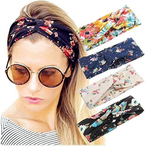 Sgualie 4 Pack Headbands Elastic Criss Cross Head Wrap Hair Band Cute Hair Accessorie,Set1 a