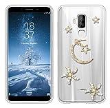 Sunrive Für HOMTOM S8 Hülle Silikon, Glitzer Diamant Strass Transparent Handyhülle Schutzhülle 3D Etui handycase Case (Mond) MEHRWEG