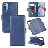 AKC Funda OPPO Reno 4 5G Carcasa Caja Case con Flip Folio Funda Cuero Premium Cover Libro Cartera Magnético Caso Tarjetero y Suporte-Azul
