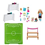 Young imaginations can play out so many sports stories with Chelsea doll, inspired by Barbie Dreamhouse Adventures, and her soccer playset. Two goals, each with an adjustable scoring board, attach to a field area where Chelsea can practice and play -...