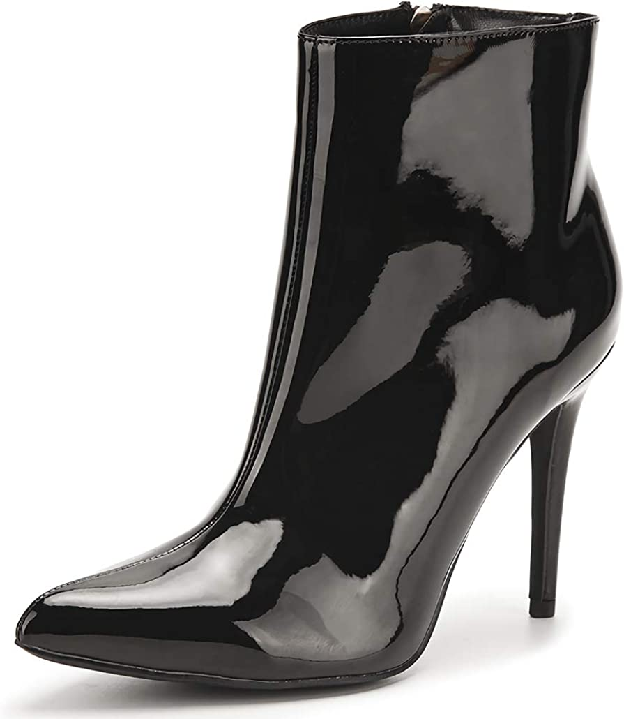 Women's Super sale period Las Vegas Mall limited Patent Leather PU Heeled An Stiletto Booties Toe Pointed