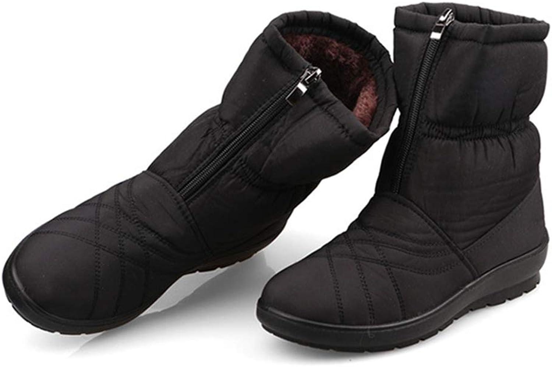 GIY Women's Waterproof Snow Ankle Boots Winter Warm Fur Zipper Short Boots Flat Casual Rain Snow Bootie