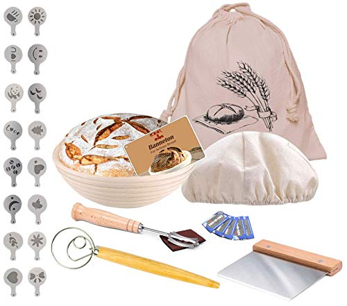 KOOL4EVER 28 Pieces Banneton Set - 10 Inch Proofing Basket, Linen Liner, Bread Lame, Whisk, Scraper, Bread Bag, Bread Stencils Ideal Bread Making Gift for Bakers
