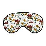 Máscara para dormir, cómoda y suave máscara de ojos con correa ajustable para la cabeza, setas rojas, blinder de ojos para viajes/dormir/trabajo por turnos