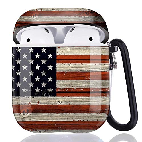 Red Wood American Flag Airpods Case Cover,Flexible Airpods Accessories Compatible with Apple Airpods 1st/2nd,Shockproof Protective TPU Case Cover for Girls Boys Women Men with Keychain/Strap