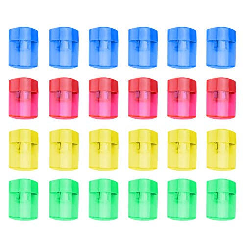 24 Pcs Double Hole Oval Shaped Pencil Sharpener, Manual Pencil Sharpener Hand Pencil Sharpener with Cover and Receptacle for School Home and Office Supply (24Pcs)