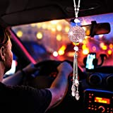 XhuangTech Bling Car Hanging Ornament for Women Bling Car Decoration Crystal Ball Car Rear View Mirror Pendant,Hanging Bling Mirror Charms Luck Car Interior Accessories (Pink Pendant)