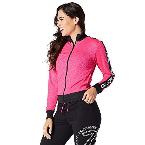 Zumba Fitness - Chaqueta con Cremallera, de Malla, Lema When The Sun Goes Down, Todo el año, Mujer, Color Shocking Pink, tamaño Small