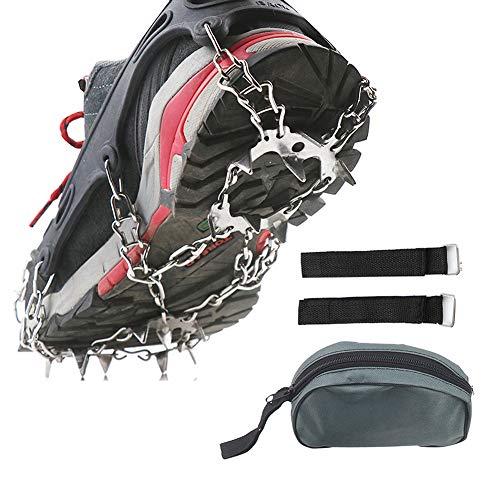 tJexePYK EIS-Schnee-Griffe für Schuhe 19 Edelstahl-Spikes Ice Klampen Traction Schnee-Griffe mit Aufbewahrungstasche Ice Traction Klampen Steigeisen Schuhe Schuhe Abdeckung