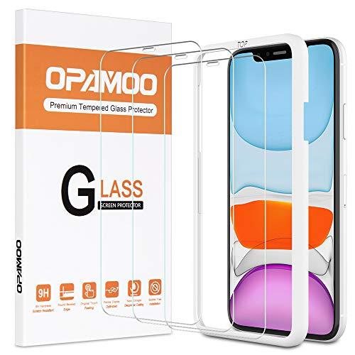 opamoo Protector de Pantalla para iPhone 11, [3 Pack] Cristal Templado iphone XR con marco de alineación, Dureza 9H Sin Burbujas Vidrio Templado para iphone 11 XR Cristal Vidrio Templado,6.1
