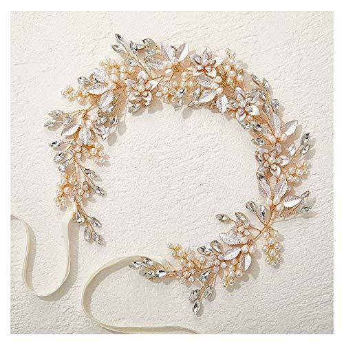 SWEETV Handgemachte Strass Hochzeit Stirnband Blumen-Blatt Braut Kopfbedeckungen für Hochzeit Perle Haarschmuck (Gold)