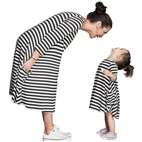 YOUJIA Mutter & Tochter Sommerkleid Kinderkleidung Gestreifte Kleid Shirts Beiläufige Familie Kleidung Mädchen, 7-8T