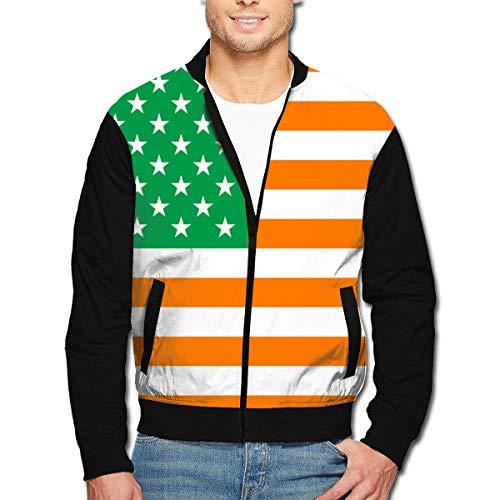 Yongchuang Feng Men's Bomber Jacket Irish Flag of The United States Aviator Jacket Bike Motorcycle Coat