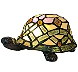 HT Tiffany Styled Turtle Accent Table Lamps, 6 inch Stained Glass Shade Night Light for bedrooms Living Room