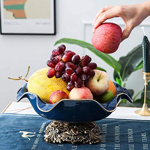 WHSS Decoración para el hogar Plato de fruta Plato de fruta Plato de fruta de estilo europeo Lujo Hogar Salón Mesa de centro Adornos de cerámica Simple Grande 31 * 14,5 cm