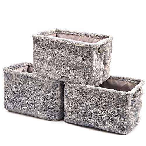 EZOWare 3 Pcs Caja de Almacenaje, Cestas Organizador de Tela Plegable con Manijas para Hogar, Oficina, Estanterías, Armarios, Ropa, Juguetes y mas - 38 x 27 x 24cm (Crema/Púrpura)