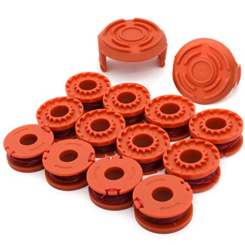 """TIOIT Wa0010 Replacement Trimmer Spool line for Worx WG154 WG163 WG180 WG175 WG155 String Trimmer Weed Eater,Weed Wacker Spool Replacement Parts 10ft 0.065 """"Trimmer Line Refills (12 Spool 2 Cap)"""