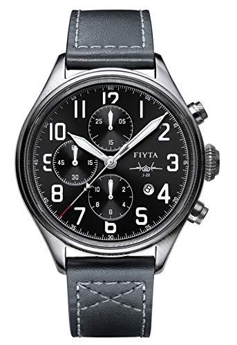 FIYTA Mach Herrenuhr Automatik Chronograph anthrazit mit schwarzem Lederband, Damaskus Stahlgehäuse WGA881002.WBB Fliegeruhr, Militäruhr, Pilot - limitiert auf 300 Stück