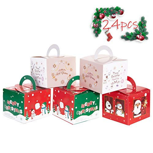 Christmas Candy Boxes, Benbilry 24PCS Christmas Boxes Cookie Boxes Bakery Treat Boxes Xmas Favor Boxes Gift Box for Chocolate, Treats and Cookies