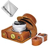 First2savvv marrón Funda Cámara Cuero de la PU cámara Digital Bolsa Caso Cubierta con Correa para Panasonic Lumix DC-GF9.GF8, GF7, GX850.GX800 (12-32mm Lens) XJD-GF9-09G11