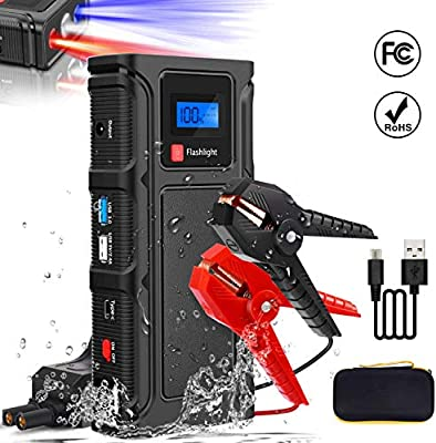 Teaisiy Car Jump Starter, Power Bank 18000mAh 12V 1000 A Peak Portable Auto Car Battery Booster Power Pack with Quick Charge 3.0 USB Ports, LED Flashlight, For Up To 5.0L Gas And 4.0L Diesel Engines