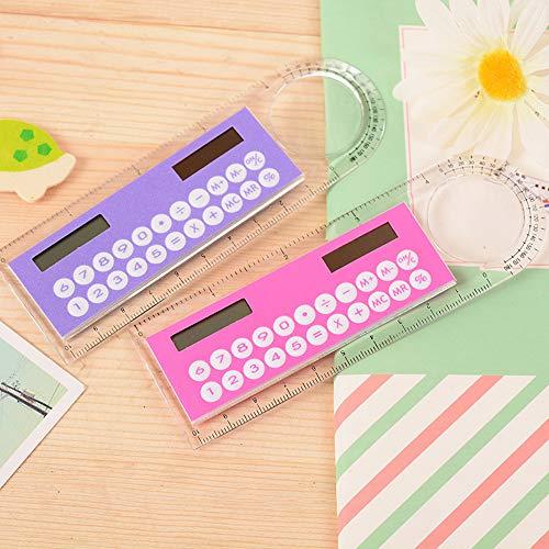 1pc 10cm Ruler Mini Calculator Ultra-Thin Solar Energy Multifunction Calculator for Children School Office Supplies, Random Color