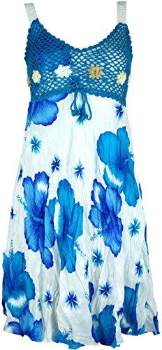 Guru-Shop Boho Minikleid, Sommerkleid Hawaii, Krinkelkleid, Damen, Weiß/türkis, Synthetisch, Size:38, Kurze Kleider Alternative Bekleidung