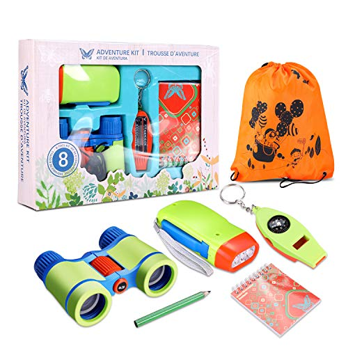 Draussen Forscherset Spielzeug, Kinder fernglas 25 oder 6 Set Kids Adventurer Explorer Set mit Bug Catcher Pinzette Insect Viewer Kompass Lupe & Schmetterlingsnetz für Camping Fernrohre (B Modell)